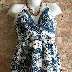 OutFitKit spaghetti strap dark blue tan v neck full skirt dress with accessories