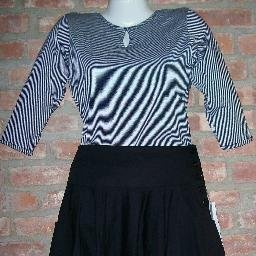 OutFitKit thin black white stripe blouse black full swing skirt with accessories