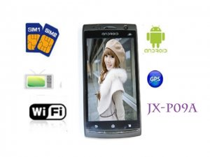 "4.0"" Quad band unlocked Dual SIM Android 2.2 WiFi TV GPS Smart Phone JX-P09A"
