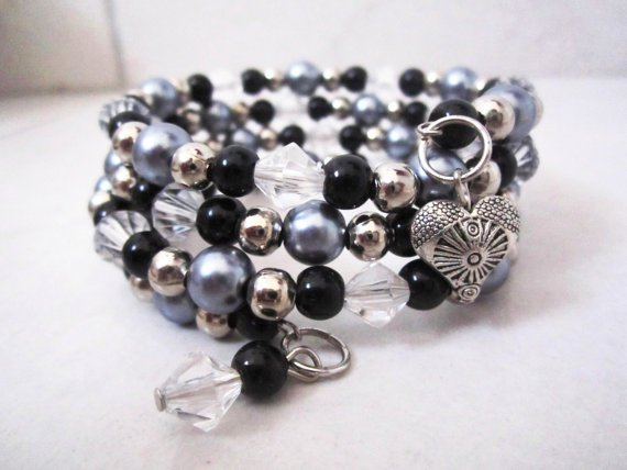 Black and Silver Crystal Cuff Bracelet, Stacking Bracelet