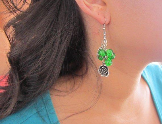 Go Green Charm Earrings, Dangle Earrings,Glass Beaded Earrings