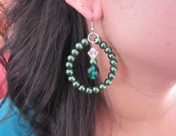 Emerald Pearl and Crystal Earrings, Beaded Earrings, Shell Pearl Earrings