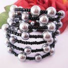 Black and Silver Grey Beaded Bracelet, Stacked Bracelet, Wrap Around Bracelet