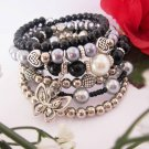 Black and Silver Charm Bracelet, Beaded Bracelet, Stacked Bracelet