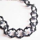 Black and Silver Grey Beaded Necklace