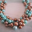 Bridesmaid Necklace - Turquoise and Bronze Pearl Cluster Necklace
