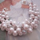 Pink Pearl and Crystal Cluster Bracelet