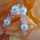 Ivory Pearl and Crystal Earrings, Bridal, Wedding, Bridesmaid Gift, Pearl Dangle Earrings