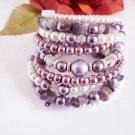 Pearl Beaded Bracelet, Amethyst Chip Bracelet, Stackable Bracelet, Pearl Cuff Bracelet
