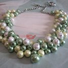 Chunky Pearl Necklace, Bridesmaids Jewelry, Beaded Necklace, Statement Bib Necklace