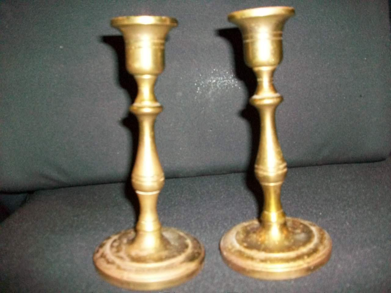 2 Vintage Brass Candle stick Holders