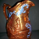 2 Antique Copper Luster Pitchers