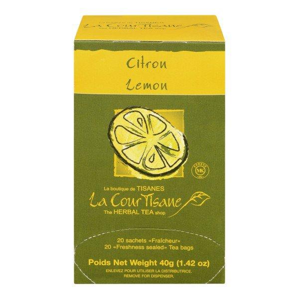 La CourTisane Herbal Tea Lemon, 20 Tea Bags with Verbena, Lemongrass, Orange and Lemon peels