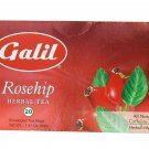 Galil Tea, Rosehip, 20 tea bags, 1.41 Oz Herbal Tea Kosher Caffeine Free