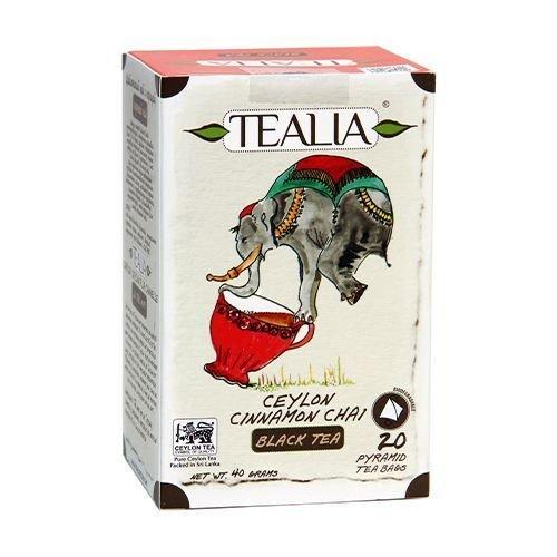 Tealia Herbal Tea Ceylon Cinnamon Chai Black Tea 20 Pyramid Tea Bags