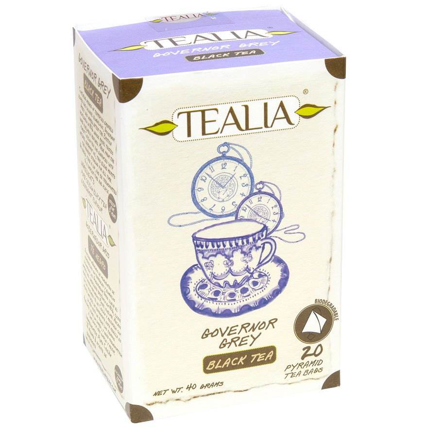 Tealia Herbal Tea Governor Grey 20 Pyramid Tea Bags Product of Sri Lanka