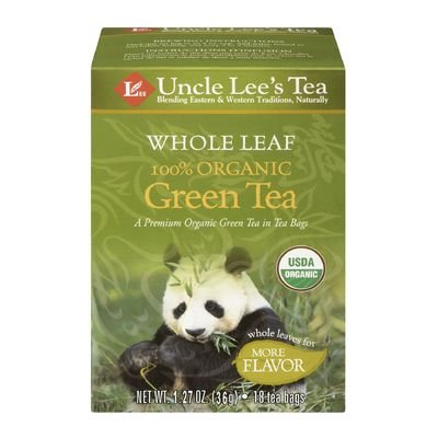 Uncle Lee's Tea Organic Green Tea, Whole leaf 18 Tea Bags, 1.27 oz (36 g)