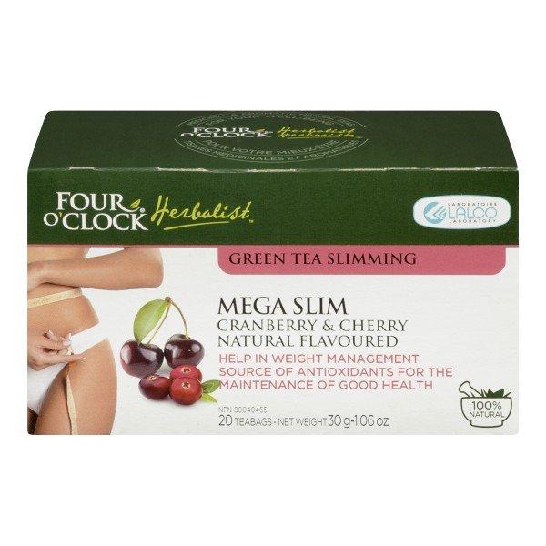 FOUR O�CLOCK Herboriste Green Tea Mega Slim Cranberry & Cherry Natural Flavoured, 20 un