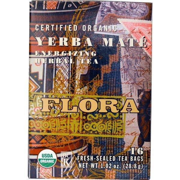 Flora, Herbal Tea Blend, Certified Organic Yerba Mate, Energizing Tea, 16 Tea Bags (28.8 g)