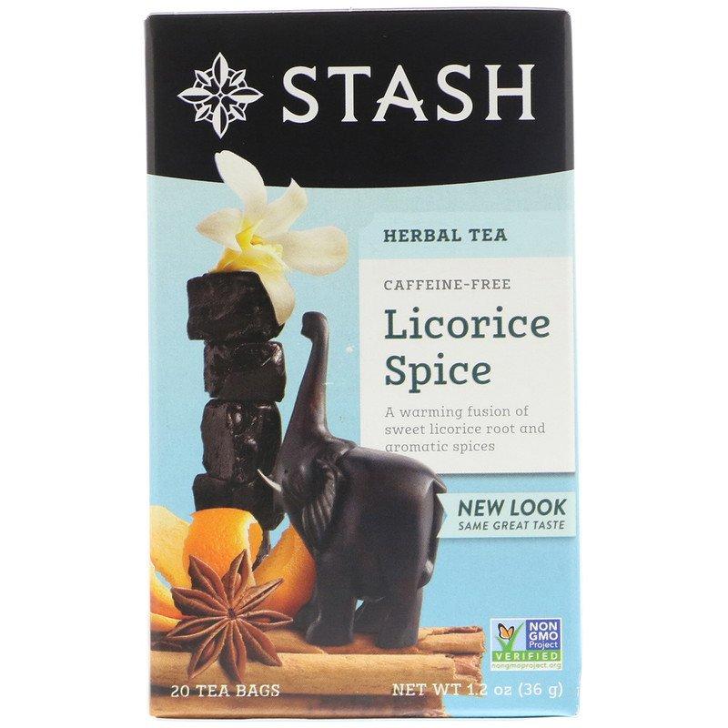 Stash Tea, Herbal Tea, Licorice Spice, Caffeine Free, 20 Tea Bags, 1.2 oz 36g