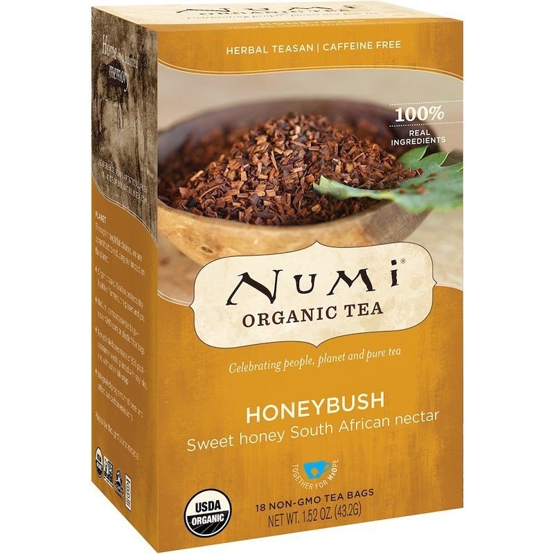 Numi Tea, Organic Tea, Honeybush, Caffeine Free, 18 Tea Bags, 1.52 oz 43.2 g