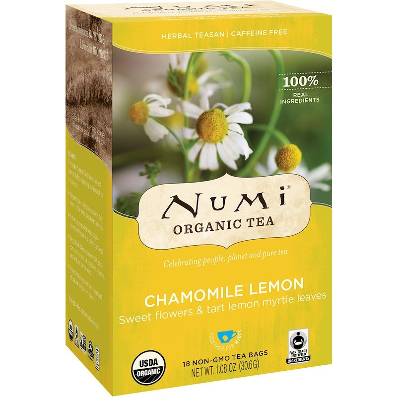 Numi Tea, Organic Tea, Chamomile Lemon, Caffeine Free, 18 Tea Bags, 1.08 oz 30.6 g
