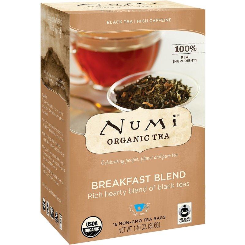 Numi Tea, Organic Tea, Black Tea, Breakfast Blend, 18 Tea Bags, 1.40 oz 39.6 g