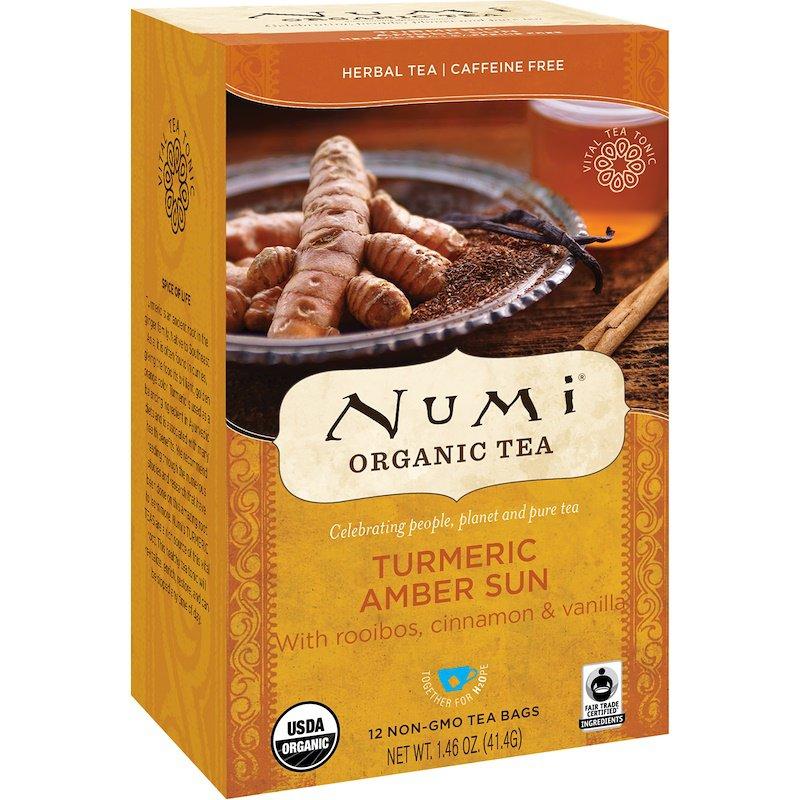 Numi Tea, Organic Tea, Herbal Tea, Turmeric Amber Sun, Caffeine Free, 12 Tea Bags, 1.46 oz 41.4 g