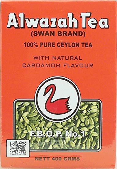 Alwazah Tea, Ceylon with natural cardamom flavour, Swan Brand, 400-gram box