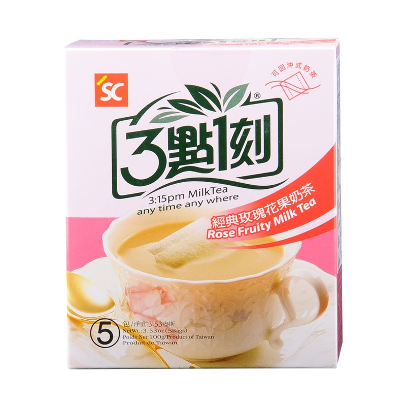 Japanese 3:15PM Rose Fruit Milk Tea 100g 5 Tea Bags From Taiwan