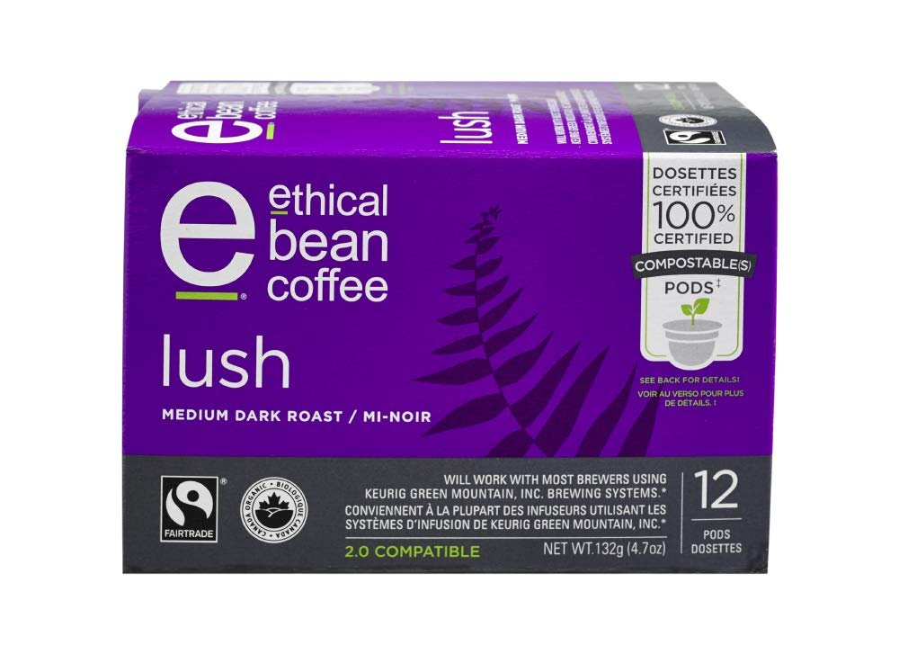 Ethical Bean Coffee Lush Medium Dark Roast: 100% Compostable Single Serve K-Cups, Keurig Compatible