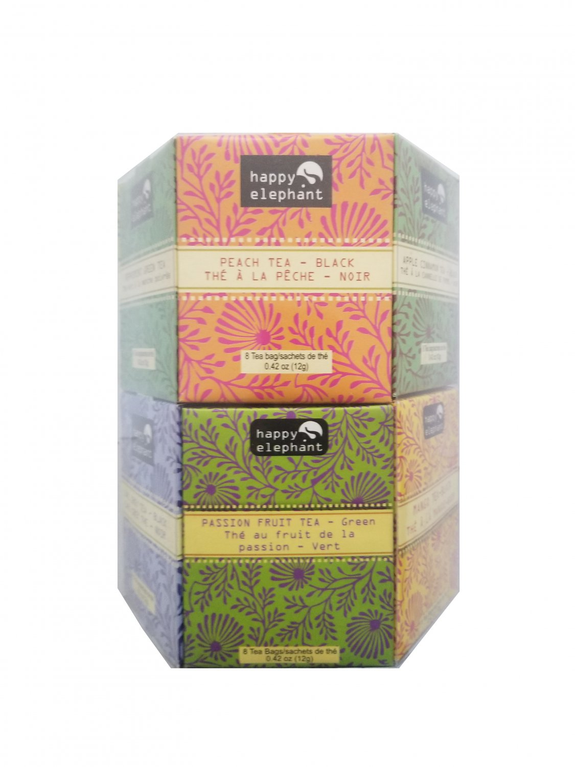 Specialty Tea Selection Happy Elephant Gift Box 96 tea bags - 12 flavors New Gift Idea