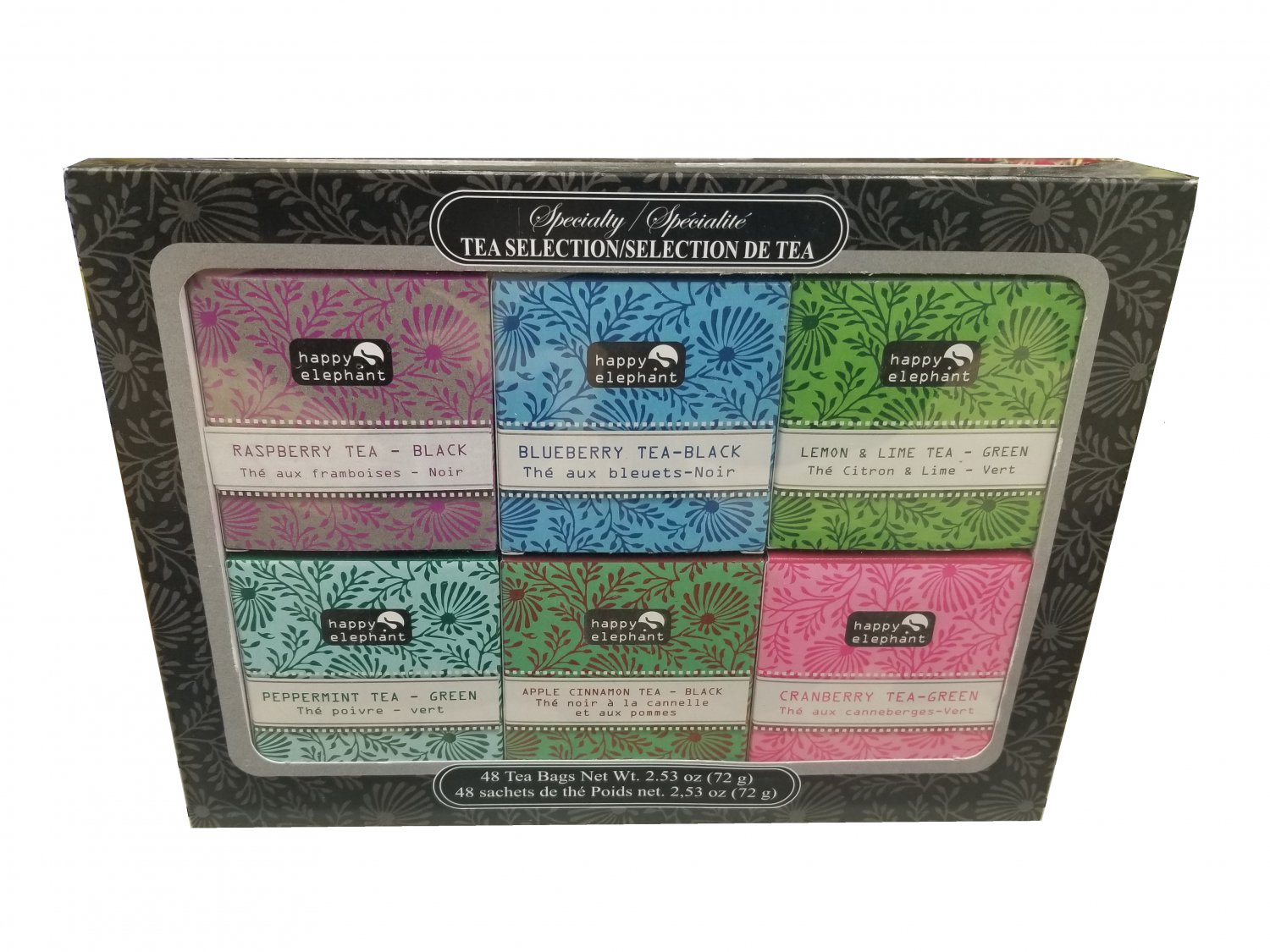 Gift Specialty Tea Selection Happy Elephant Gift Box 48 tea bags - 6 flavors