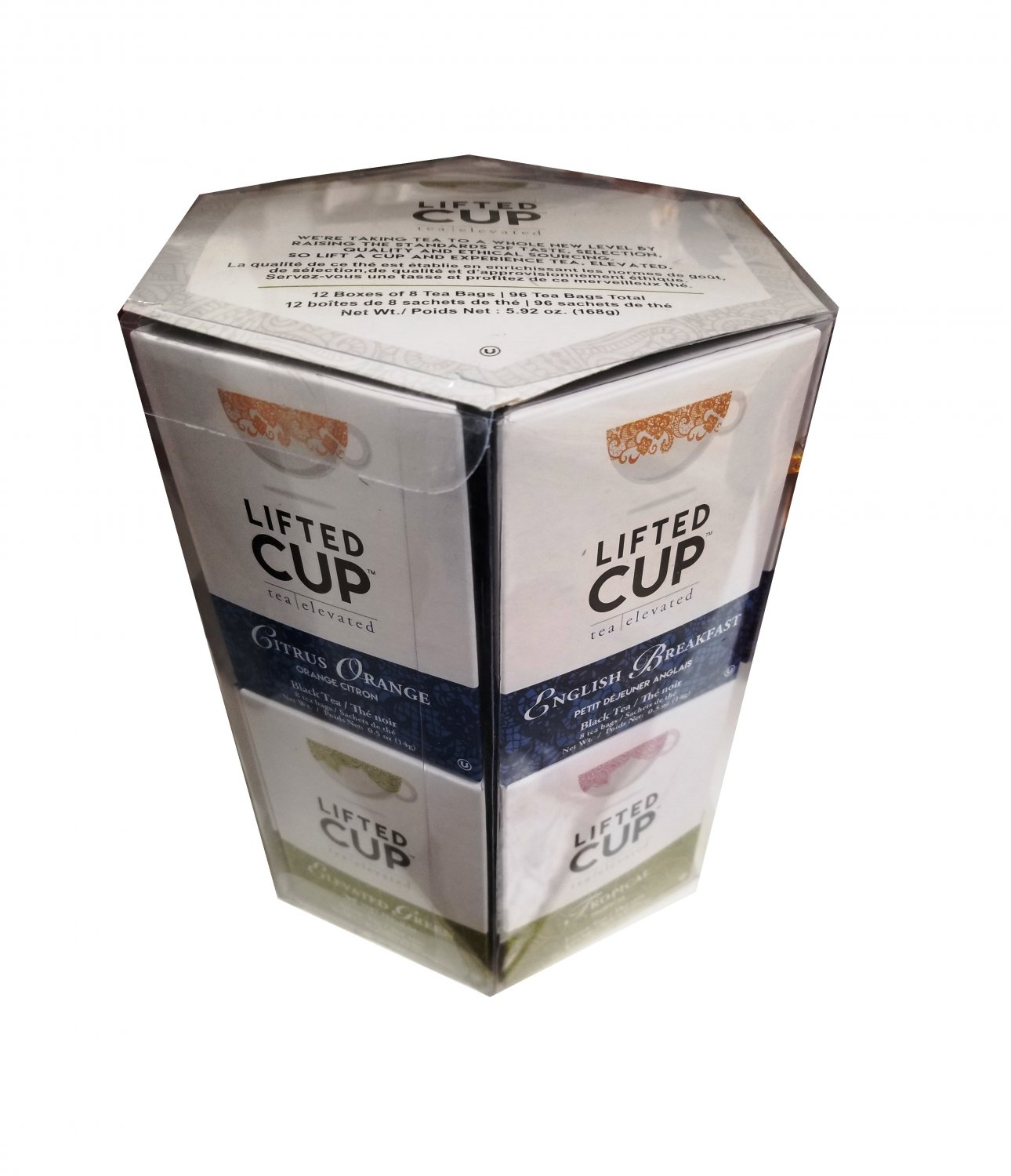 Specialty Tea Selection Lifted Cup Gift Box 96 tea bags - 12 flavors Christmas Gift Idea