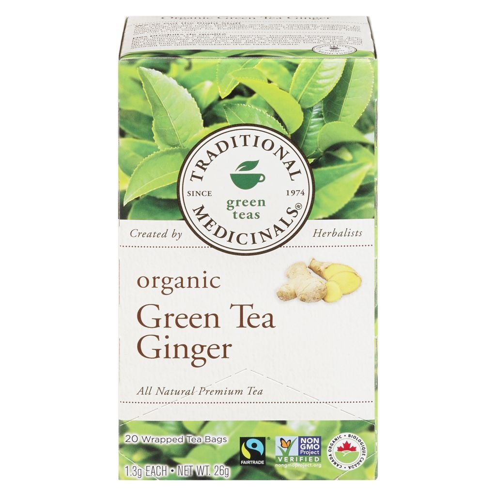 Traditional Medicinals, Organic Green Tea Ginger 20 Wrapped Tea Bags Compostable (26g)
