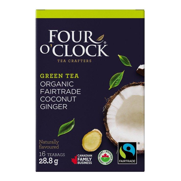 FOUR O'CLOCK Green Tea Coconut Ginger Organic Tea 16 UN
