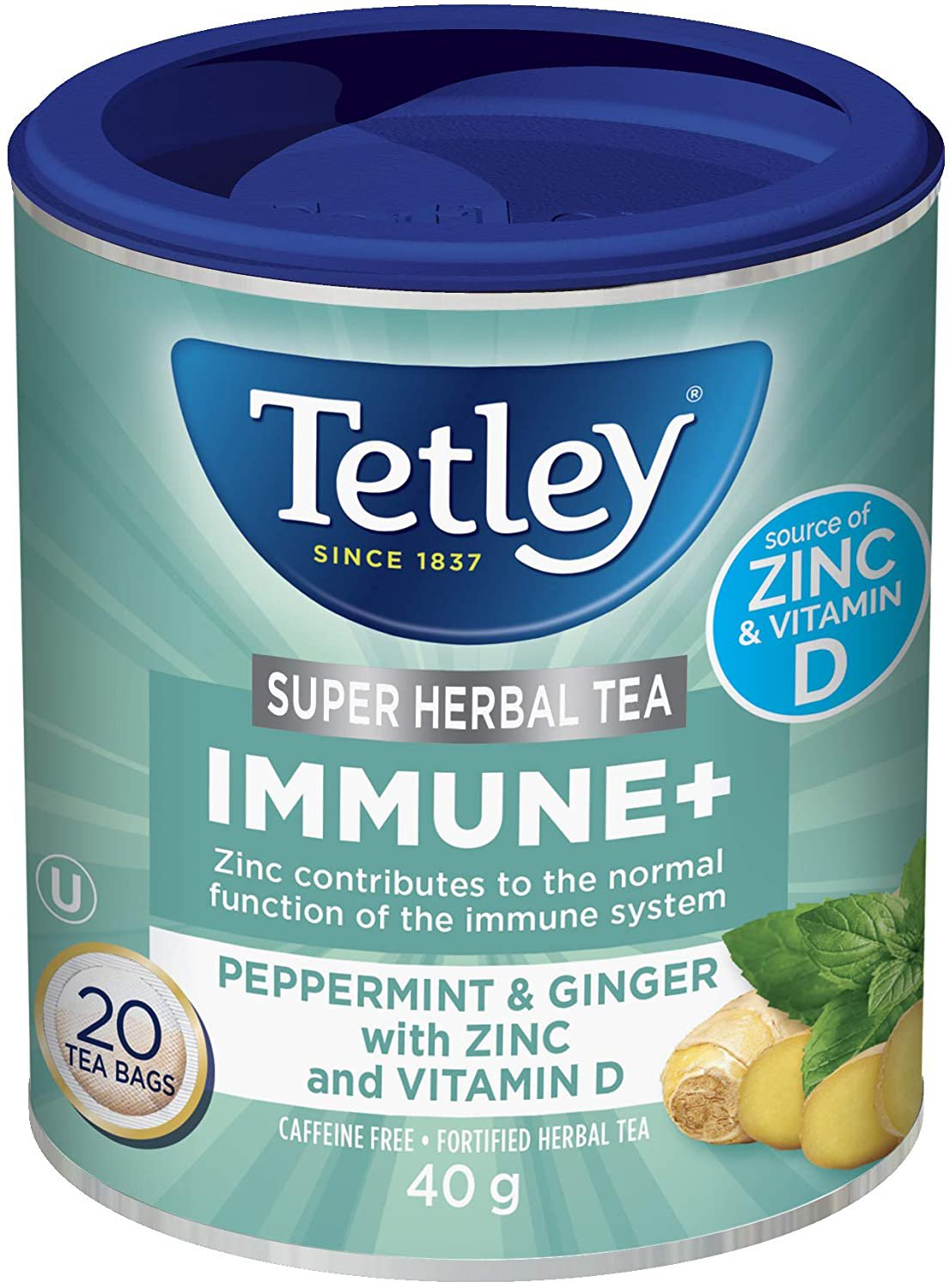 Tetley Immune with Ginger and Peppermint, Zinc and Vitamin D Super Herbal Tea 20 tea bags