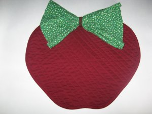 """Apple Shaped Quilted Placemat and """"leaf"""" Napkin"""