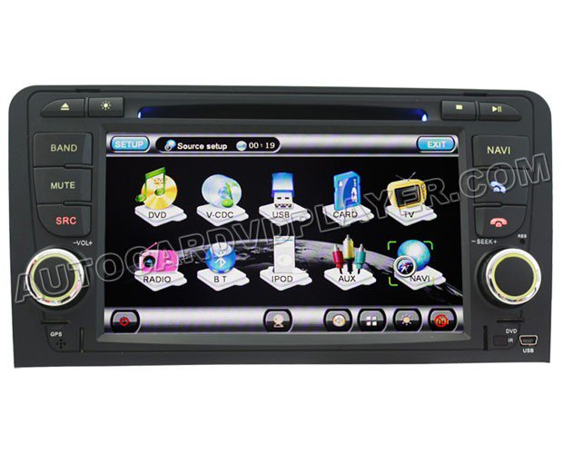 "Audi A3 DVD GPS Navigation player with 7"" Digital Touchscreen / PIP RDS Bluetooth"