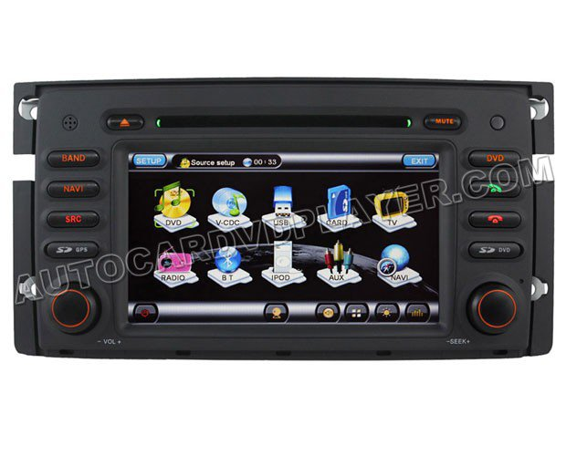 """Car DVD Player with GPS navigation 7"""" HD touchscreen iPod-control for 2008-2010 Smart Fortwo"""