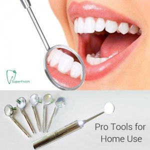 LED Dental Mirror with 5 Additional Mirror Tips by SuperFresh