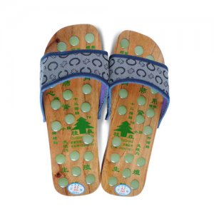 Wood Foot Care Sandals with Acupressure Stones (Blue)