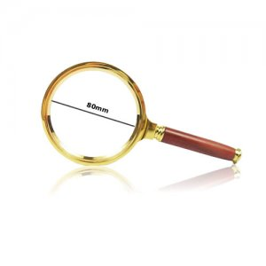 Premium 5x Magnifying Glass with Red Handle and Gold Border, 80mm