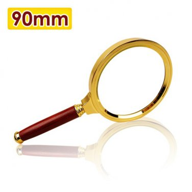 Premium 5x Magnifying Glass with Red Handle and Gold Border, 90mm