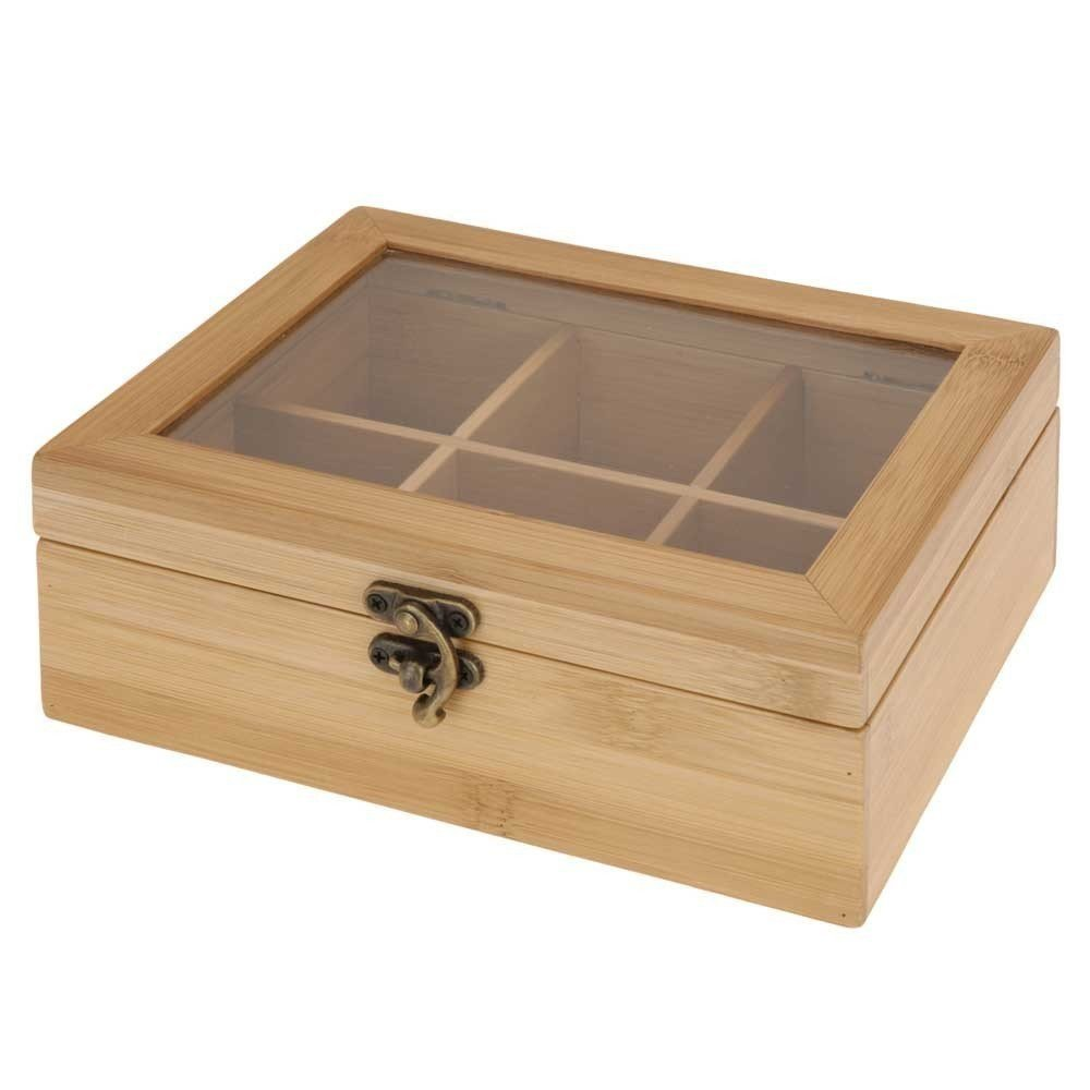 Wooden Bamboo Tea Box with Six Compartments