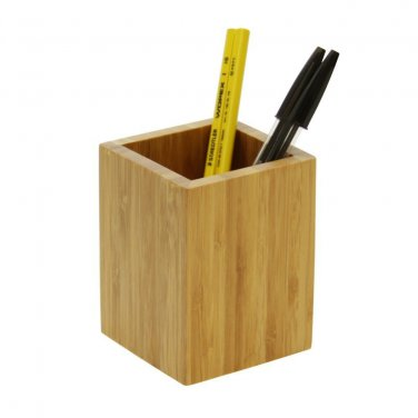 Natural Bamboo Wood Desk Pen Pencil Holder Cup Stand