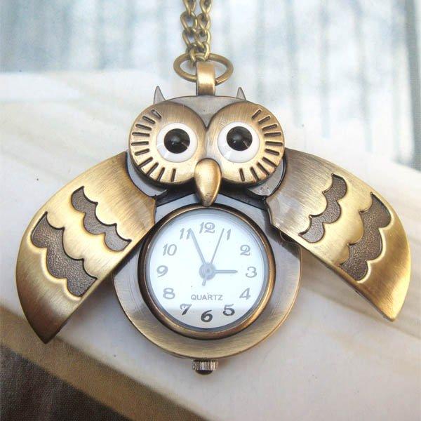 Retro Copper Open Wing Owl Pocket Watch Necklace Pendant Vintage Style