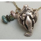 Silver Plated Elephant Ring Necklace with Gemstone Chain