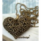 Lovely Retro Copper Heart Necklace Pendant Vintage Style