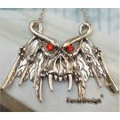 Lovely Swarovski Crystal Silver Plated Bat Necklace Pendant Vintage